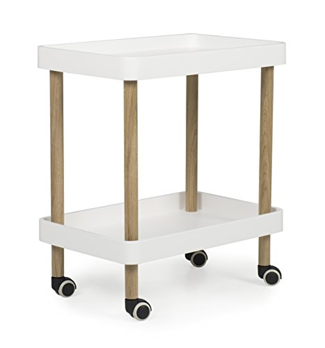 TENZO Serve Designer Desserte Panneaux MDF/Chêne Massif, Blanc, 60x40x70 cm