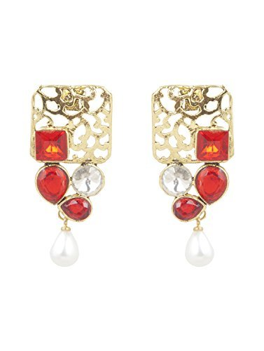 INAYA Brass Crystal and Yellow Gold Plated Earring Set with Red Chaton Stone, 1 pair  available at amazon for Rs.129