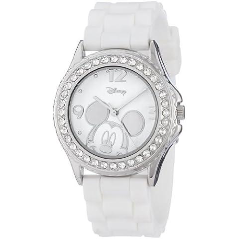 De las mujeres de Disney MK1093 de diamantes de imitación de Mickey Mouse de acento de caucho de color blanco de la correa de reloj de