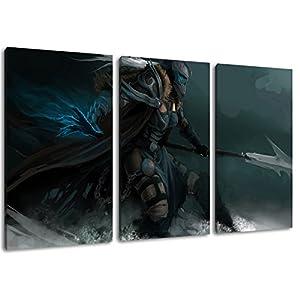 Dark World of Warcraft 3-Teilig auf Leinwand, Gesamtformat: 120×80 cm fertig gerahmte Kunstdruckbilder als Wandbild – Billiger als Ölbild oder Gemälde – KEIN Poster oder Plakat