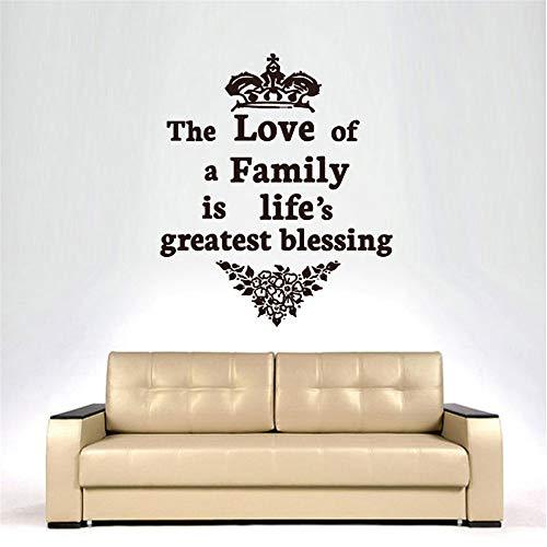 wlwhaoo Die Liebe Einer Familie ist der größte Segen des Lebens Vinyl abnehmbare Krone und Blumen Wandaufkleber Wohnkultur grau 49cmx43cm - Home-securi