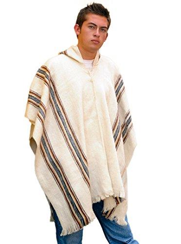 Gamboa - poncho rustico con cappuccio - bianco