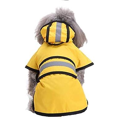 Ruiuzi Fashion Dog Pet Raincoat Reflective Stripes Yellow Coat Rainy Days Slicker Waterproof Clothes Puppy Rain Poncho Hood by Ruiuzi