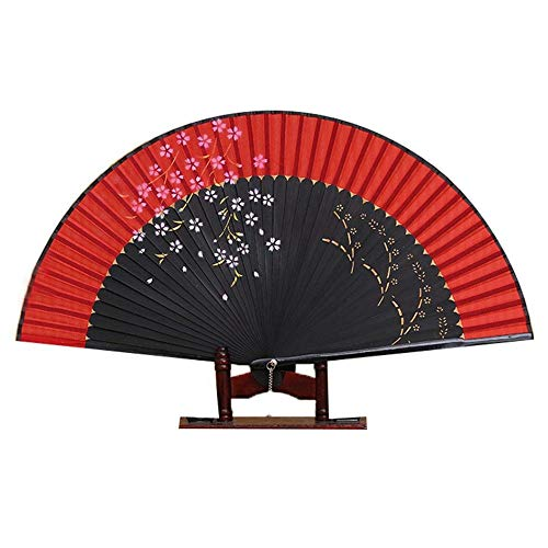 ZYHMXM Faltfächer, Women Summer Japanese Style Prints Bamboo Über Multi Red Faltfächer Handheld Folding Lace Fans - Red Japanese Folding Fan -