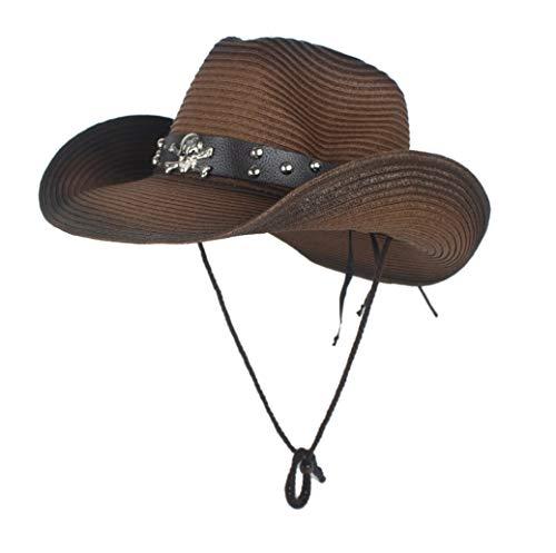 RONGLINGXING 2019 Mode Sommer Western Cowboy Hüte Unisex Stroh Cowgirl Party Kostüm Crimp Hut Outdoor UV Schutz Hüte for Männer (Farbe : Kaffee, Größe : - Dallas Cowboy Kostüm Kind