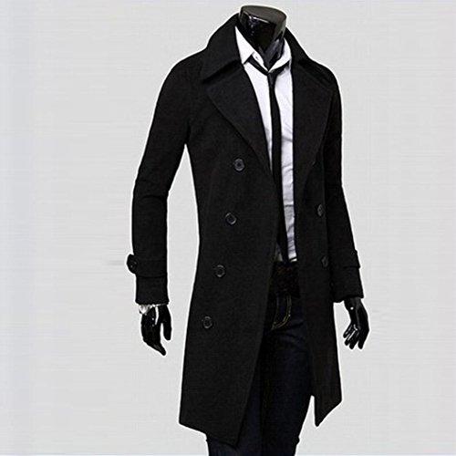 Tefamore Hommes d'hiver Slim Trench Coat élégante Double Breasted Parka (XL, Noir) Noir