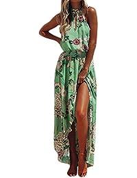 153b42c3d266a Lenfesh Femme Robe Longue Ete Boheme Chic Maxi Robe De Plage SoiréE Casual  Imprimé Fleurie Mode
