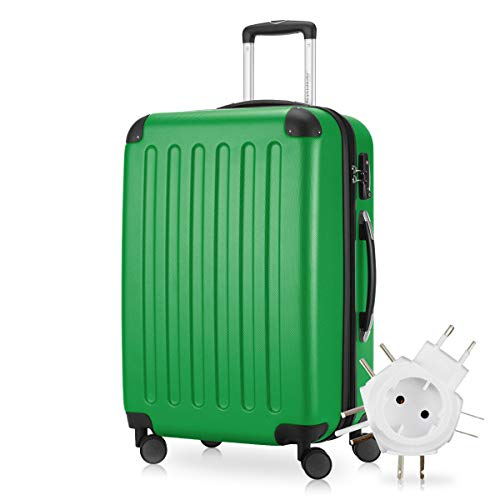 Hauptstadtkoffer - Spree Hartschalen-Koffer Koffer Trolley Rollkoffer Reisekoffer Erweiterbar, 4 Rollen, TSA, 65 cm, 74 Liter, Grün +Universal Reiseadapter
