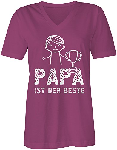 Papa ist der Beste ★ V-Neck T-Shirt Frauen-Damen ★ hochwertig bedruckt mit lustigem Spruch ★ Die perfekte Geschenk-Idee (07) pink