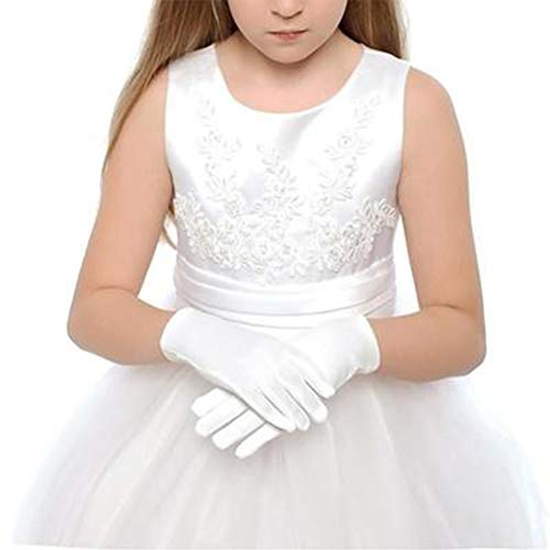 Kurze Satin-Handschuhe, für Mädchen, Bankett, Party, Hochzeit, Braut-Tanz, kurz, formelle Handschuhe, Handgelenk-Länge für Kinder, Tanz-Auftritte, 2 Paar