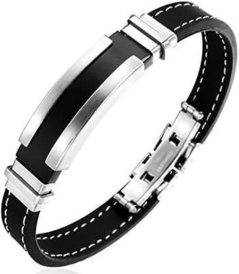 Jstyle Joyería El cierre de pulsera de acero inoxidable Hombres de Negro pulsera de silicona largo 20CM