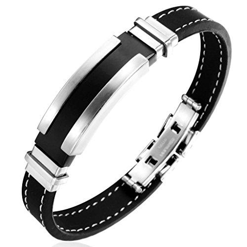Jstyle Edelstahl Herren Armbänder Schwarz Sportarmband silikon Herrenarmband Damenarmband Siliconarmband Silberfarbene Armband für Männer Damen Länge 20cm