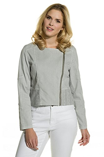 GINA LAURA Damen | Jeans-Jacke | Spitzen-Verzierung | schräger Zipper | Langarm | Regular Fit | bis Größe 3XL | hellgrau-Melange S 711022 13-S