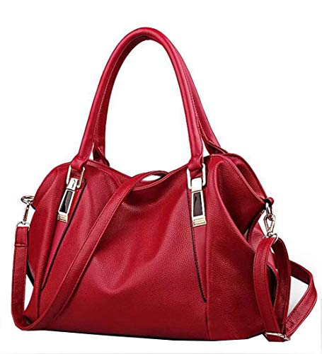Womens Smooth Leather Large Handbags / Shoulder Bags - Red