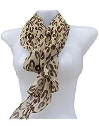 "Beige/brown animal leopard designer inspired ""U"" print light weight chiffon feel ladies Shawl Scarf Wrap 160cm x 50cm by Fat-Catz-copy-catz"