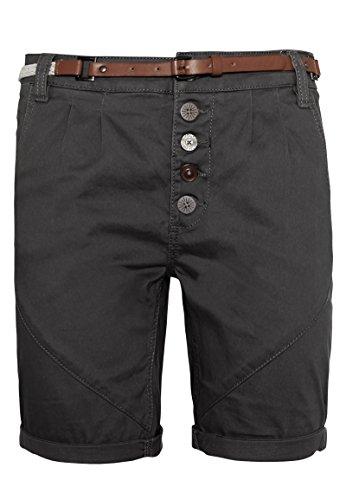 SUBLEVEL Sublevel Damen Chino-Shorts mit Flecht-Gürtel I Leichte Bermuda I Kurze Hose in Schwarz, Weiß, Grau & Rosé Black S