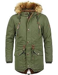 Solid Vidage Herren Parka Lange Winterjacke mit Kapuze und Kunstfellkragen  aus Hochwertiger Baumwollmischung ! 267a6ca36f