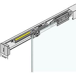 ASE205: Soft Close Selbsteinzug Slim Line komplett Schiebetür Beschlag inkl. 2050mm Alu Schiene und Zubehör für Glasschiebetür 900mm breit