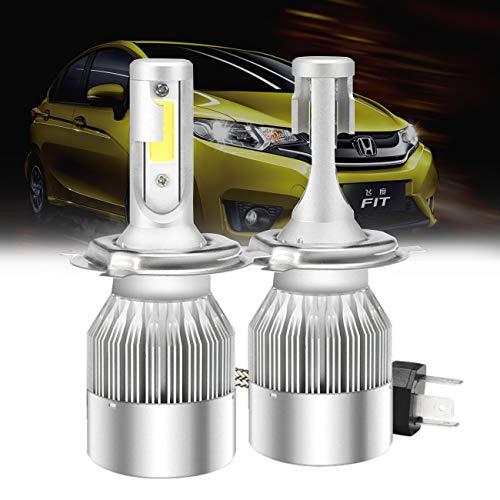 Lampada per fasci di LED Mesllin C6 H4 High Low Beam 120W 20000LM 6000K Lampadine per bulbi di chip COB Super Bright White Cool, 3 anni di garanzia - (H4 / 9003 / HB2)