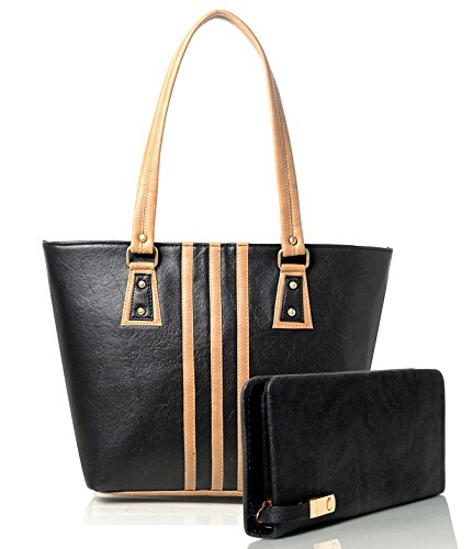 Mammon Women\'s Handbag And Clutch Combo (Combo-BLC-blk, 40x30x10 CM)