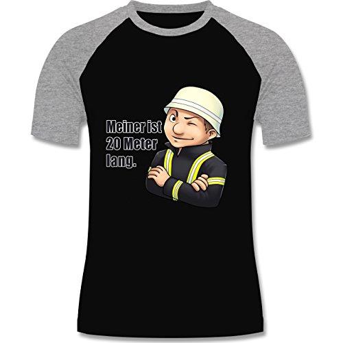 Feuerwehr - Feuerwehrmann - Meiner ist 20 Meter lang. - zweifarbiges Baseballshirt für Männer Schwarz/Grau Meliert