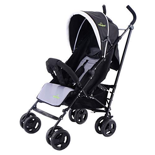 GOPLUS Kinderbuggy Buggy Kinderwagen Babybuggy Babywagen mit Sonnenschutz bis Liegeposition verstellbar (Schwarz)