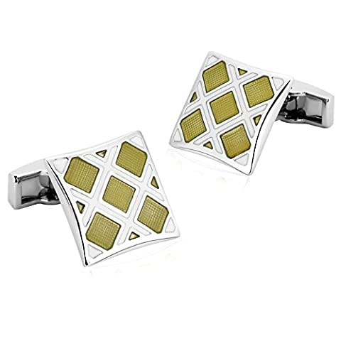 Epinki Mens Stainless Steel White Yellow Rhombus Pattern Design Square Cufflinks for Wedding