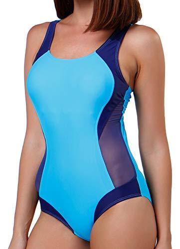 FITTOO Damen Vintage Figuroptimizer X-Rücken Einteiliger Sport Badeanzug mit Bein Hellblau S