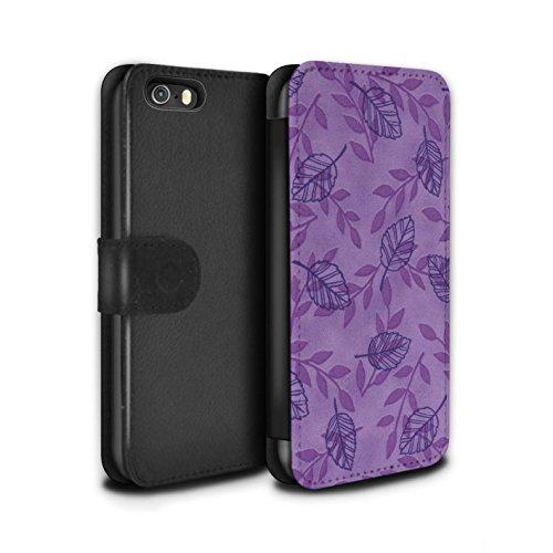 Stuff4 Coque/Etui/Housse Cuir PU Case/Cover pour Apple iPhone 5/5S / Pack (6 pcs) Design / Motif Feuille/Branche Collection Pourpre/Bleu
