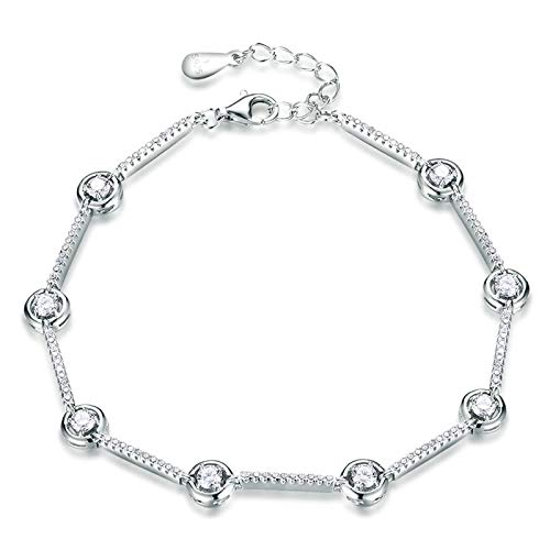 Bishilin Damen Armband Charms Silber 925 Rund Zirkonia Silber Armband für Mutter/Freundin/Frauen 20.5 cm