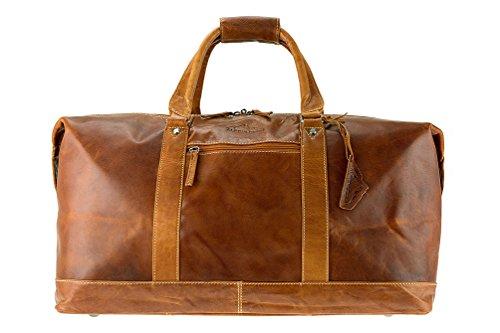 ALPENLEDER Reisetasche Alabama aus echtem Büffel-Leder groß für Herren und Damen in Cognac-Braun -