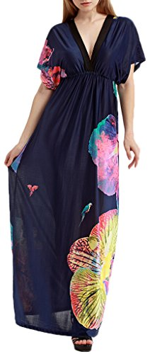 Mochoose Damen Elegant Kurzarm V-Ausschnitt Blumen Boho Maxi Böhmisches Langes Strandkleid Marineblau Schmetterling