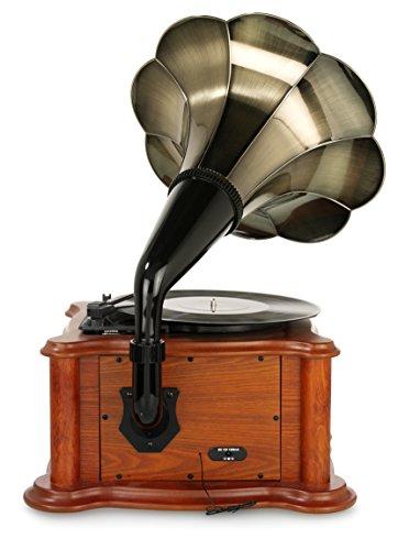 Ricatech-RMC350-Legend-Music-Centre-5-en-1-con-trompeta-vintage-Tocadisco-de-3-velocidades-y-altavoces-incorporados-reproductor-de-CD-ranura-USB-y-SD-radio-AMFM-y-Line-In-entrada-para-otros-dispositiv