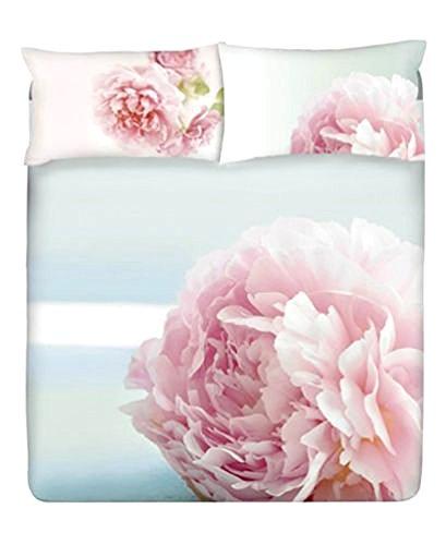 Gabel Completo Copripiumino Lenzuola Federe Matrimoniale Planet Fiori Blossom Rosa Azzurro Due Posti (Sacco Copripiumino 250x205, Lenzuolo sotto 175x200, 2 federe 50x80)