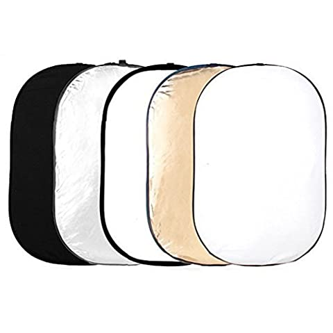 Phot-R 120x180cm Pro 5-in-1 5in1 Collapsible Professional Photography Portable Photo Studio Circular Light Reflector Panels - Gold, Silver, Black, White & Translucent Diffuser + Carry Case