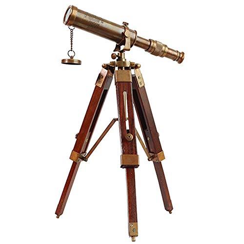 NBRTT telescopio Vintage de latón sobre trípode