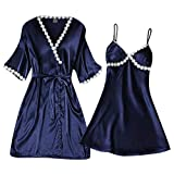 Dorical Damen 2 Stücke Nachtwäsche Kimono Nachthemd Satin Negligee Spitze Chemise Pyjama Robe Zwei Stücke Sleepwear Set Trägerkleid Patchwork,V-Ausschnitt Spitze Sleepweare Kleid(Blau,Large)