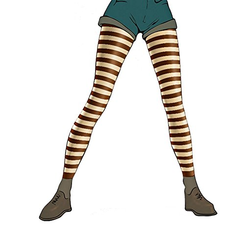 Pariser-Mode Damen-Leggings, Mikrofaser, blickdicht, braun geringelt mit dunkelblau, Gr. S (36-38)