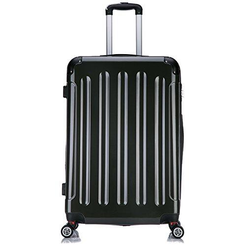 EUGAD #376 Reisekoffer Hartschale Koffer Trolley mit erweiterbare Volumen , Reise Koffer Trolley 4 Rollen , Hartschalenkoffer Handgepäck , leicht und günstig , M/L/XL/Set Grau (XL, 75 cm & 110 Liter)
