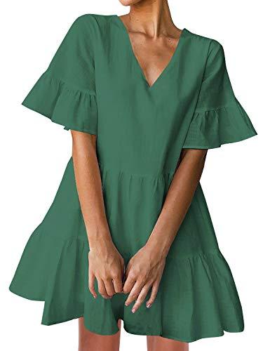 FANCYINN Mini Kleider Damen Sommerkleider V-Ausschnitt Volant Swing Kurze Kleider Grün Damen Seersucker