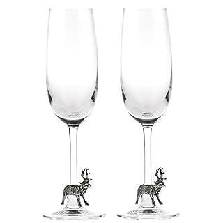 At home in the country–Ein Paar Hirsch Champagner Flöten–Feine Zinn & Glas–Eine wundervolle Hochzeit Geschenk
