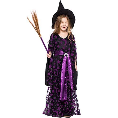 Vampira Deluxe Kostüm - DONGBALA Mädchen Halloween Hexe Kostüm, Kleinkinder Hexe Kostümfest Märchen Prinzessin Kleid Deluxe Set Hexe Damen Kostüm für Schulspiele Karneval Cosplay Lila,M