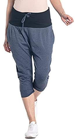 Happy Mama. Women's Maternity Crop Pants Elastic Contrast Belly Waistband.