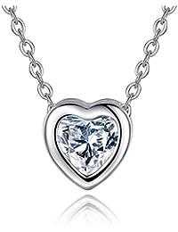 Collar Mujer Plata de Ley 925 Circonita Collar Corazón Cadena 45cm con Caja de Regalo