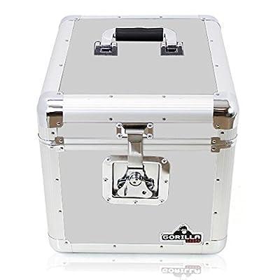 "Gorilla GC-LP100S LP 12"" Vinyl Record Storage Box Flight Case - Holds 100pcs - Silver inc Lifetime Warranty"