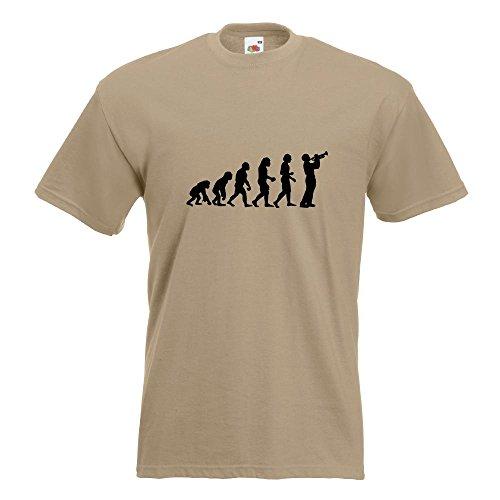 KIWISTAR - Evolution Trompetenspieler T-Shirt in 15 verschiedenen Farben - Herren Funshirt bedruckt Design Sprüche Spruch Motive Oberteil Baumwolle Print Größe S M L XL XXL Khaki
