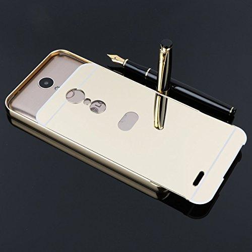 Spiegel Hülle Mirror Case TPU Schutzhülle Silikon Handyhülle Tasche Case Cover für LG K10 (2017 EURO VERSION), Silber Rose