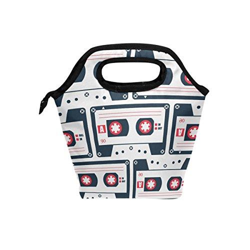 COOSUN - Bolsa térmica térmica para el almuerzo, diseño de cinta de cassette, impermeable, de neopreno, con cremallera, para viaje, picnic