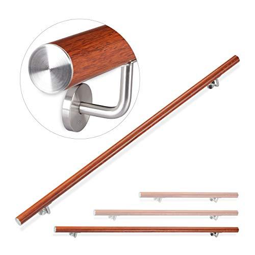 Eiche Handlauf mit Holz-Halbkugel und Edelstahlhalter in verschiedenen L/ängen 220cm 3 Edelstahl-Halter