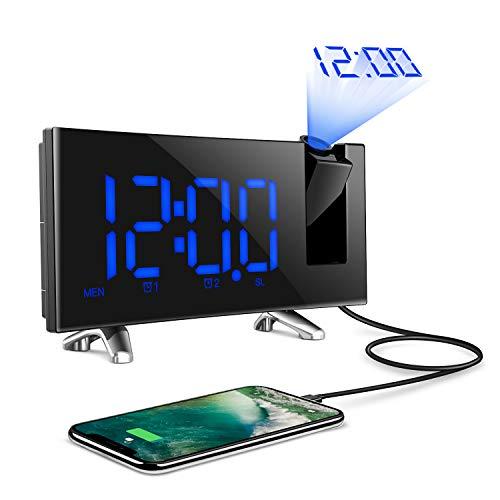 COULAX Projektionswecker Funk Wecker FM Radiowecker Digital Wecker Anschluss LED-Anzeige Dimmbar mit 2 Wecker Snooze,Timer 12/24 Stunden-Schalter,180° Flip-Projektor und USB-Anschluss